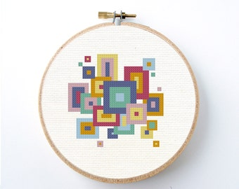 Mod squares retro geometric Cross Stitch Pattern Instant Download Modern Needlepoint blocks