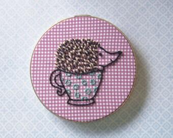 Hedgehog Tea Embroidery