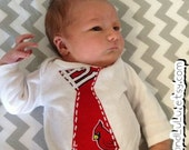STL, St. Louis Cardinals,  Hand Embroidered Onesies, creeper, bodysuit, toddler t-shirt, Cardinals Tie, Baby shower gift