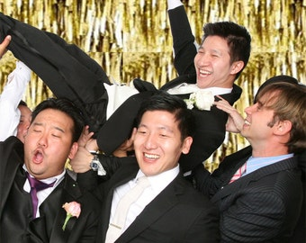 Gold PHOTO BOOTH Backdrops (2) . . . the best deal . . .