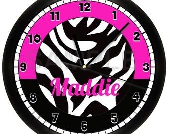 Personalized Black and Hot Pink Zebra Print Wall Clock Animal Print