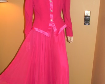 RIMINI Vintage 2 piece skirt & jacket set.Crystal buttons. Satin trim. Flowing and Enchanting.Fuschia Formal dress set.Holiday Apparel