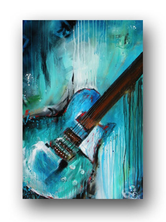 guitar painting abstract painting large original painting on. Black Bedroom Furniture Sets. Home Design Ideas