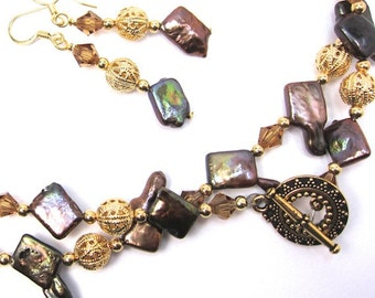 Unusual Chocolate Brown Stick Pearl Necklace Combo with Light Topaz Swarovski Crystals Necklace and Earring Set