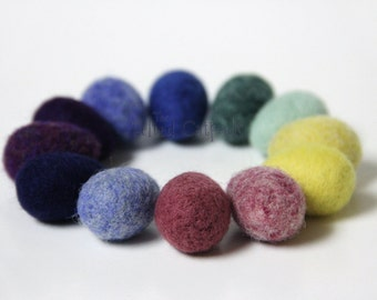 12 Little Needle Felted Wool Eggs - Solid & Heathered Colors