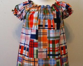 Going Coastal  Peasant  Dress (12 mos,  18 mos,24 mos,  2T, 3T, 4T, 5, 6 )