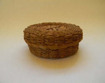 BASKET, Miniature Hand Woven Native American Covered Basket