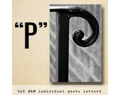 Letter P Alphabet Photography  Black & White 4x6 Photo Letter