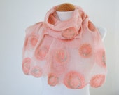 Hand Dyed, Nuno Felt Scarf on Cotton, Circle Collection, Peach with Aqua