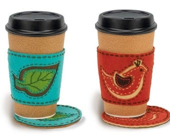 Coffee Cup Cozy and Coaster Embroidery Kits