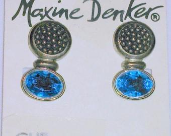 Vintage NOS Maxine Denker Blue Rhinestone Earrings