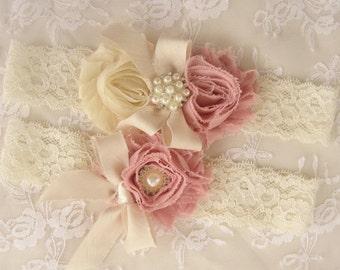 Wedding Garter  Bridal Garter Heirloom Rose Set with Toss Garter Heirloom Rose and Tea Stained Ivory with Rhinestones and Pearls