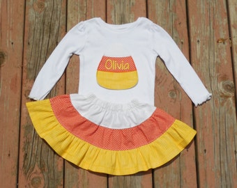Girl's Toddlers Skirt and Shirt Outfit -  Candy Corn Skirt with Candy Corn Applique Shirt