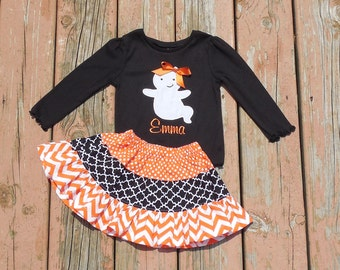 Girl's Toddlers Skirt and Shirt Outfit -  Tiered Halloween Skirt with Cute Ghost Applique Shirt