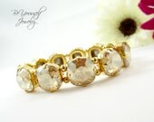 Champagne Gold Bridal Bracelet Swarovski Crystal Cushion Cut Golden Shadow Wedding Bracelet Stretch Chunky Golden Bracelet Bridesmaid Gift