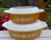 Vintage Harvest Gold Pyrex Casserole Set