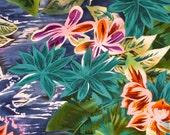 1 Yard Honolulu Moon Alexander Henry Fabric Batik Style Hawaii 2003 Tropical Hawaiian Print Cotton Quilt Fabric OOP