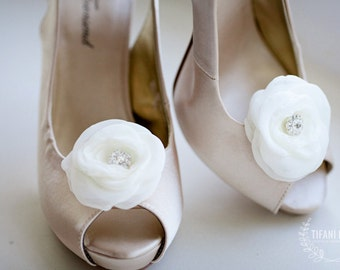 soft chiffon shoe clips flower with rhinestone - Kristen