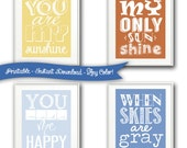 Printable in ANY COLOR - INSTANT Download - Set of 4 Art Prints - You Are My Sunshine - dIY