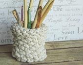 Hand Knit Cotton Rope Natural Basket Bowl Vase Container Makeup Brush Holder