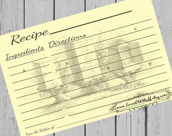 3x5 Printable Blank Recipe Cards 3.5x5 | 4x6 Recipe Cards | Beehive & Honey Bee Recipe Card