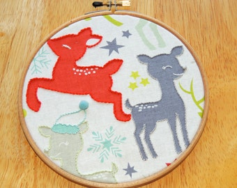 Winter Deer Embellished Fabric Hoop Art