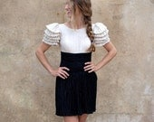 Reserved for Lacy Mary McFadden vintage 80s pleated mini cocktail dress- 80s black and ivory short party dress - small