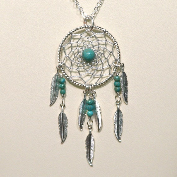 Dreamcatcher Necklace Turquoise & Silver Dream Catcher with Feathers