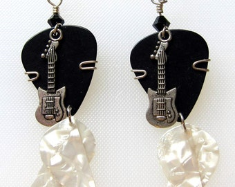 Black Guitar Pick Earrings - Guitar Charm with White Dangling Picks