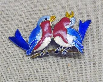 1960s Vintage Sterling Silver Enamel Bluebirds Brooch