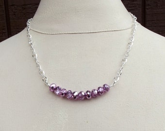 Purple Ice Necklace:  Metallic Radiant Orchid Beaded Curved Bar Necklace, Hammered Fine Silver Wire Wrapped Jewelry