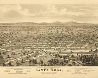 Vintage Map - Santa Rosa, California 1876