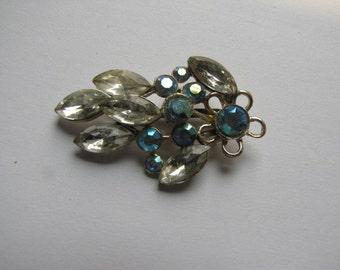 Vintage Rhinestone Brooch Pin Blue Aurora Borealis Clear Silvertone Setting
