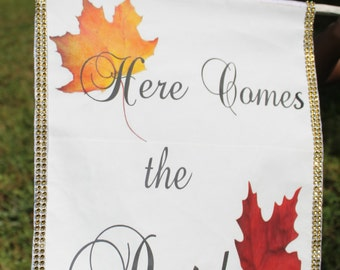 Fall Wedding Here Comes the Bride Banner, Wedding banner, Here Comes the Bride, Wedding Gift, Bridal Shower Gift, gift