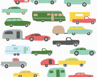 Vintage Camper and Car Clipart, Retro RV Clip Art, 5th Wheel Trailers, Instant Download, Commercial Use
