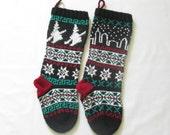 Pattern Fair Isle Christmas Stockings Skyline and Witch fair isle PDF pattern