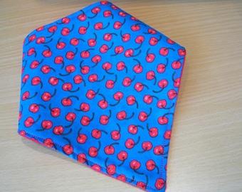 Baby Bandana Dribble Bib Retro Cherry Handmade In England