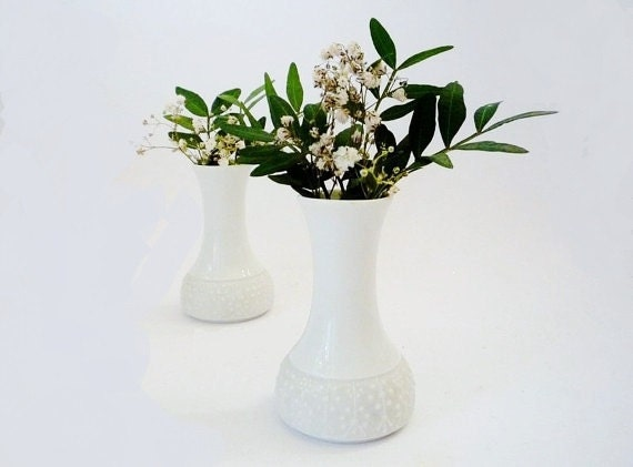 2 Vintage Small Thomas Bisque Porcelain Vases