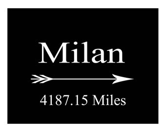 Custom Mileage Print Anywhere to Milan Print Poster