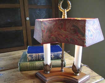 Vintage Lamp Student Desk Library Lighting Italian Marbeled Paper Shade