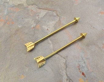 Gold Industrial Barbell Arrow  16g or 14g Piercing Upper Double Ear Piercing