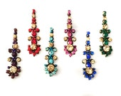BINDI Pack 6 Swarovski crystal BINDIS,Indian Bindi,India, Self Adhesive Tattoo Body Art Wedding & Bridal sticker Jewelry