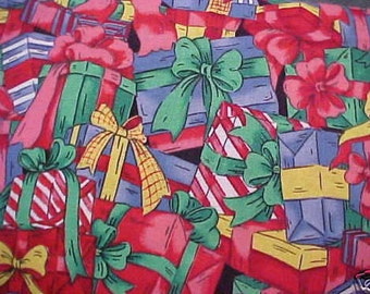Christmas Gifts Presents Fabric New BTY By The Yard
