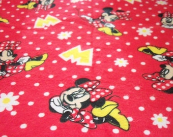 Minnie Mouse Fabric Flannel Red Background White Poka Dots New Fat Quarter BTFQ