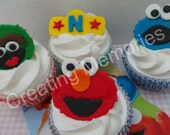 Sesame Street Imspire Fondant Cupcake or Cake Toppers  for Birthdays or any celebrations.  Made  from Vanilla fondant. Great for cakes