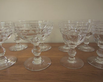 Vintage Tiffin stemware.  8 total glasses, 4 liquor glasses and 4 champagne/wine/sherbert glasses.  Tiffin crystal glasses.