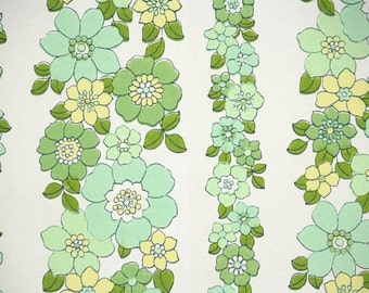 Retro Wallpaper by the Yard 70s Vintage Wallpaper - 1970s Green and Yellow Floral Stripe on White