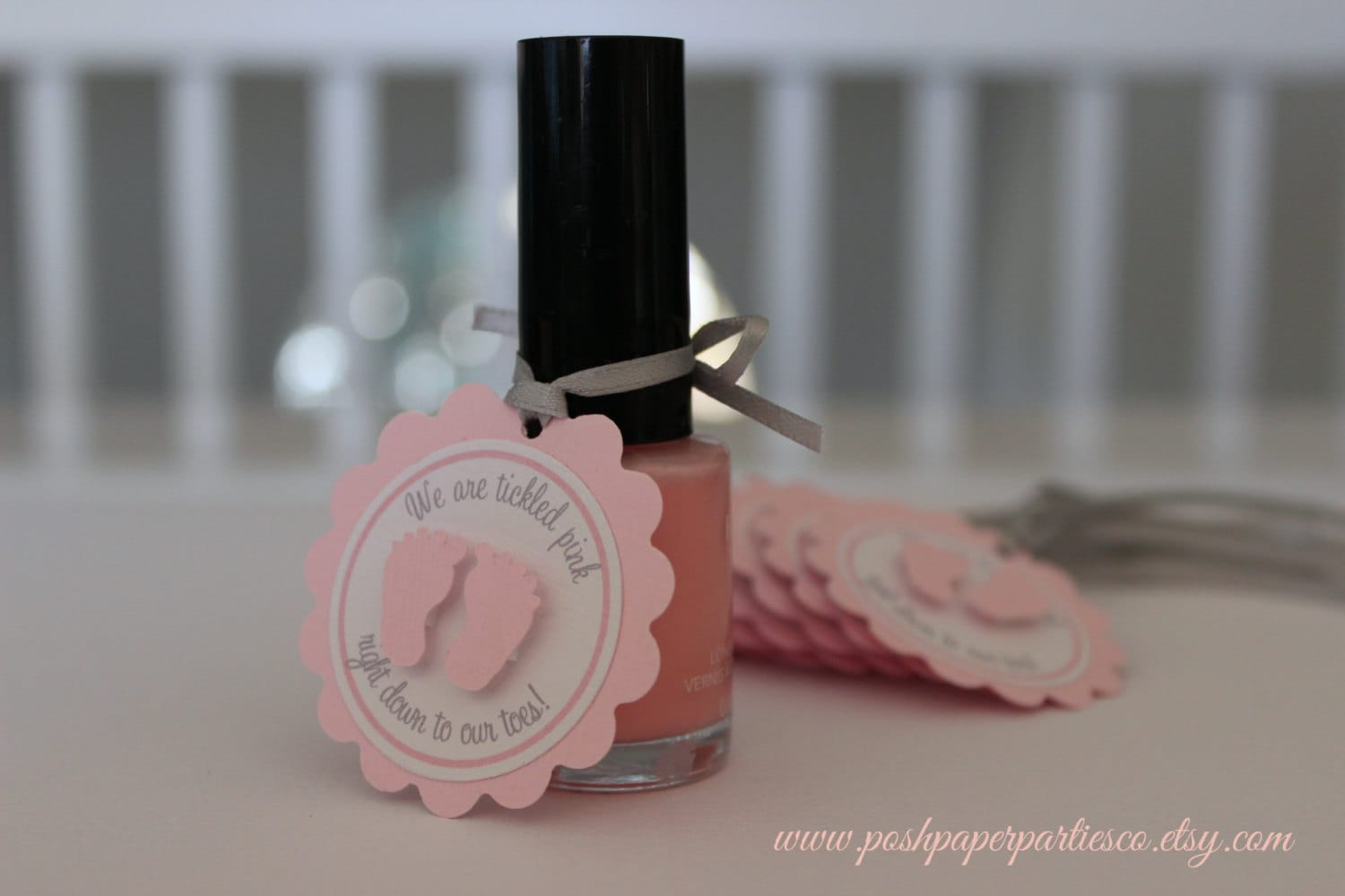 Baby Shower Favor Tags For Nail Polish Gray And Pink Little