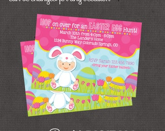 Easter Eggs, Bunny, Birthday, Egg Hunt Party Invitation 4x6 or 5x7 digital you print your own- Design 171