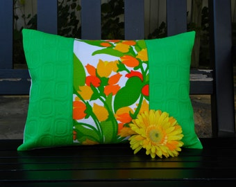 Throw Pillow Cover - Vintage Mod Green, Orange, Yellow and White Floral  Patchwork - 12 x 16